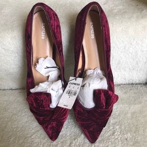 Express deep red/purple velvet pointed bow flat